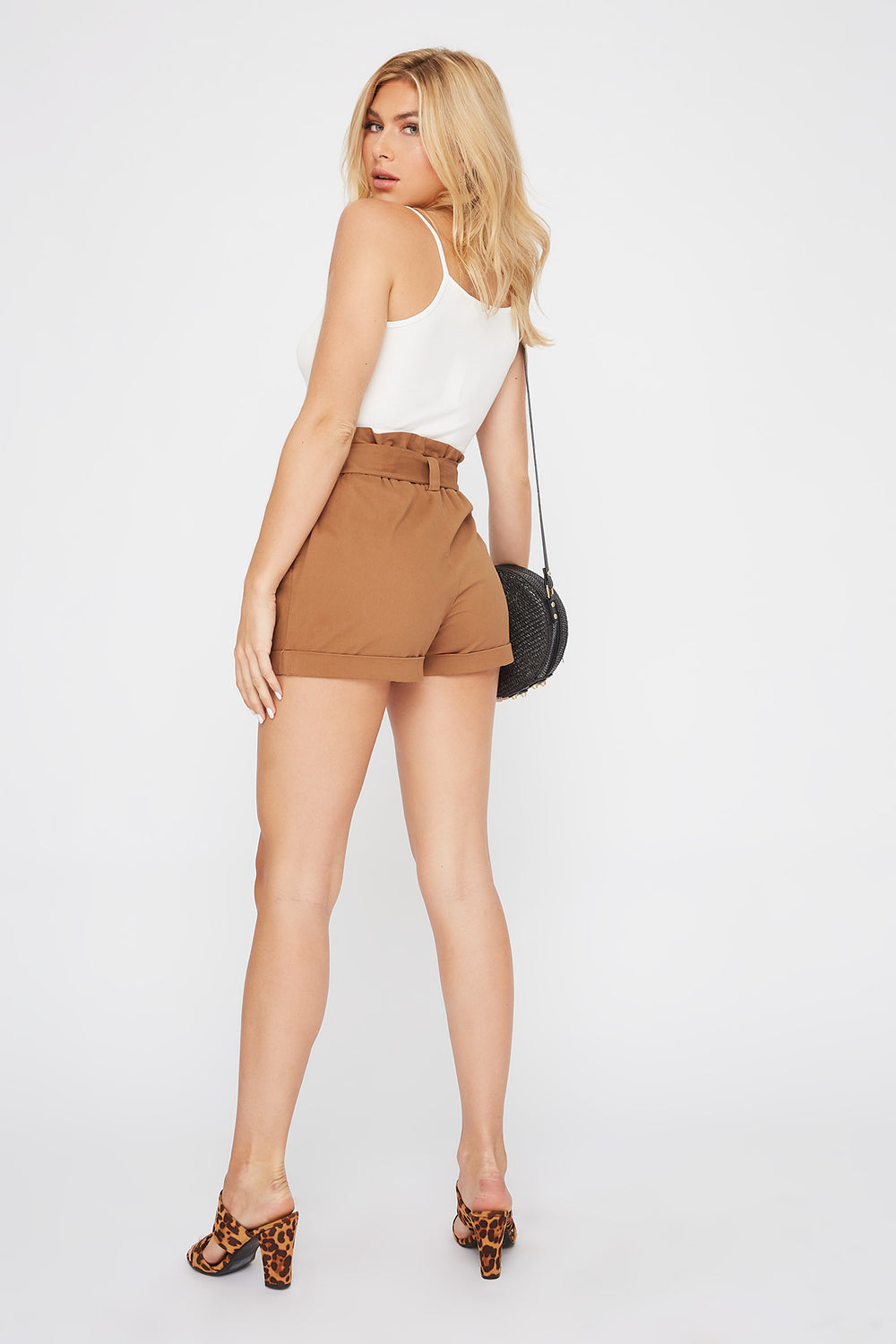 High-Rise Paperbag Short Camel