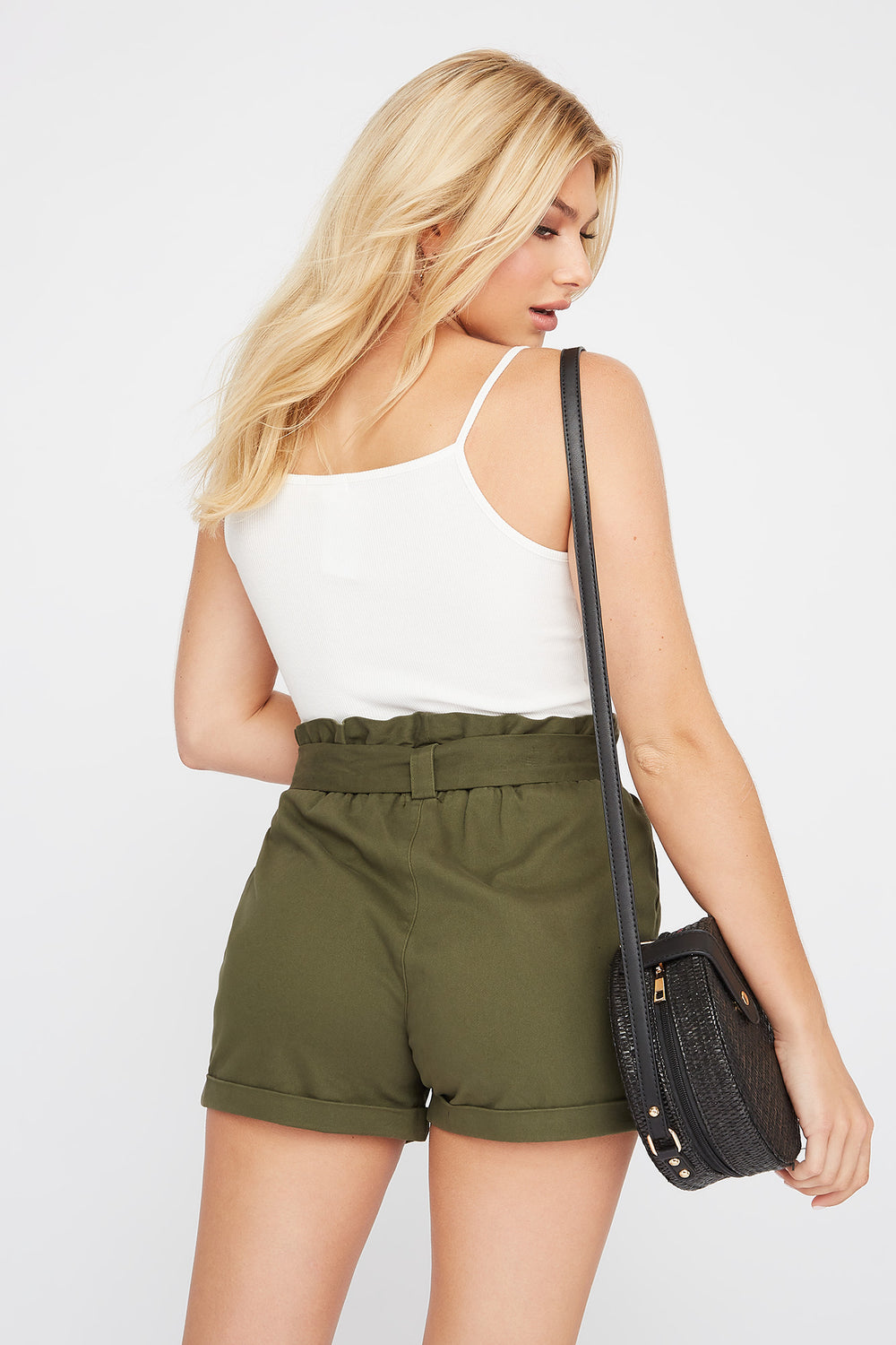 High-Rise Paperbag Short Dark Green