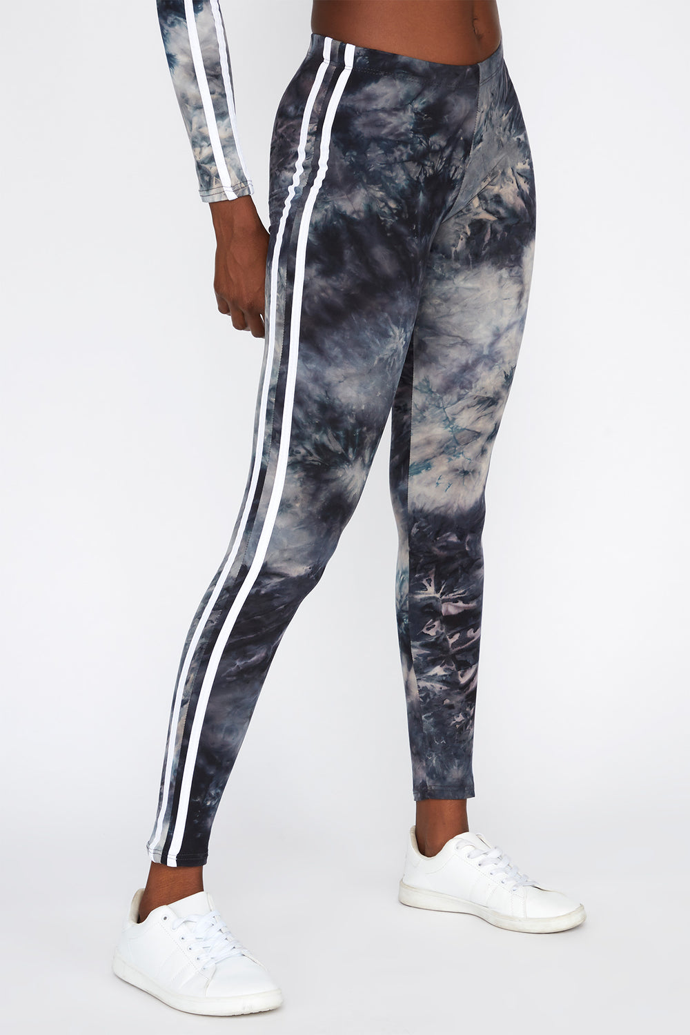 Tie Dye Side Stripe High-Rise Legging Black