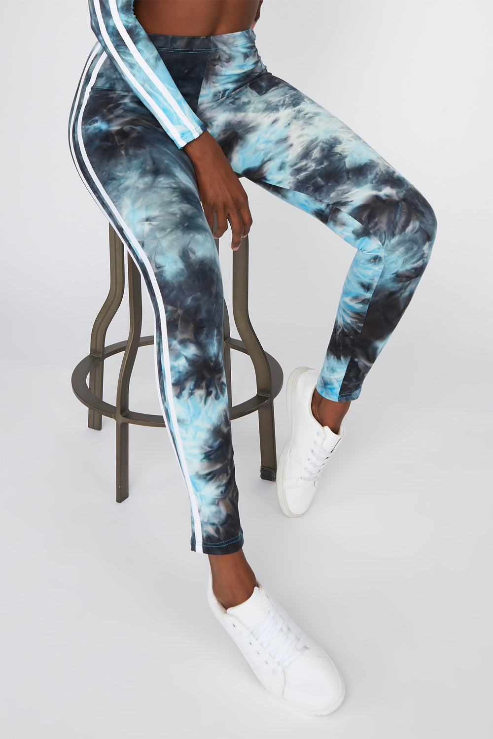 Tie Dye Side Stripe High-Rise Legging Aqua