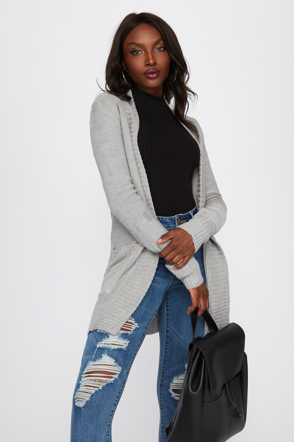 Knit Open-Front Pocket Cardigan Heather Grey