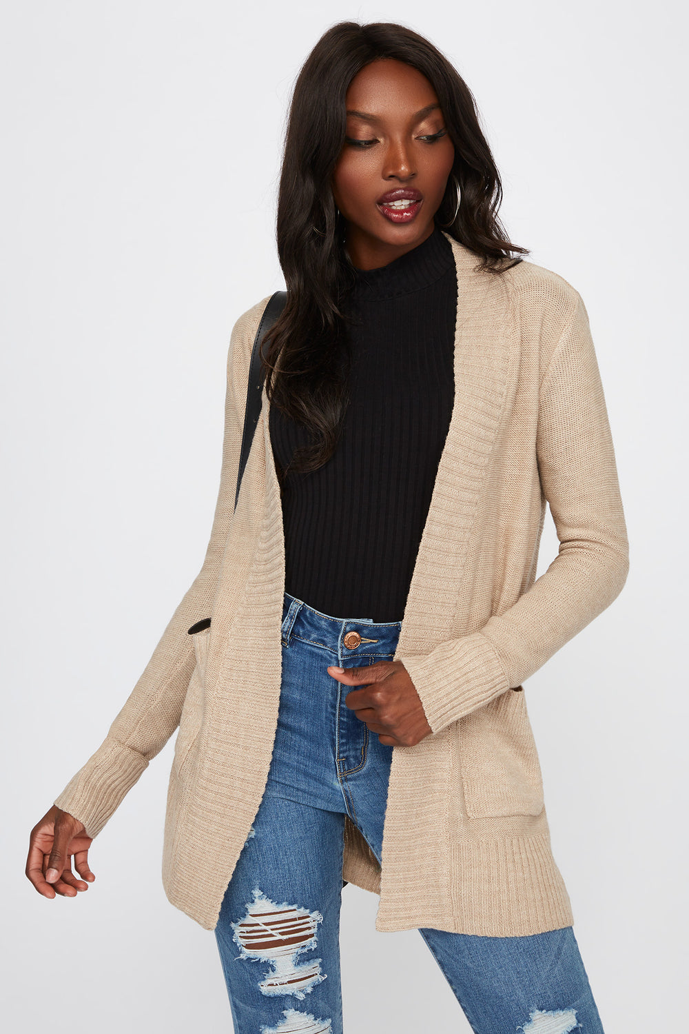 Knit Open-Front Pocket Cardigan Oatmeal