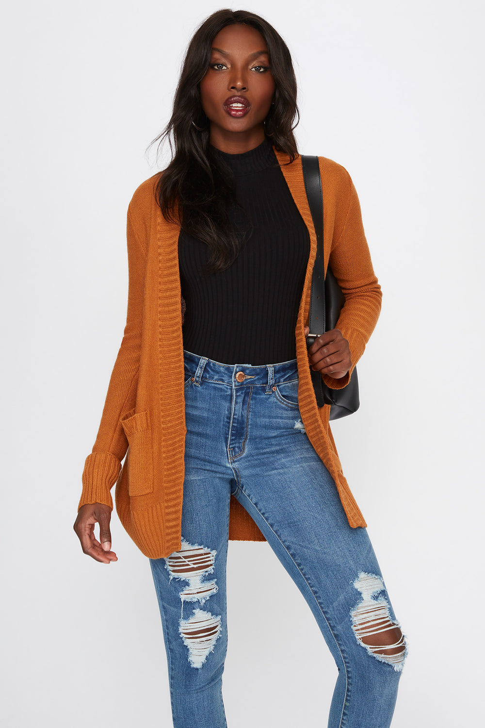 Knit Open-Front Pocket Cardigan Gold