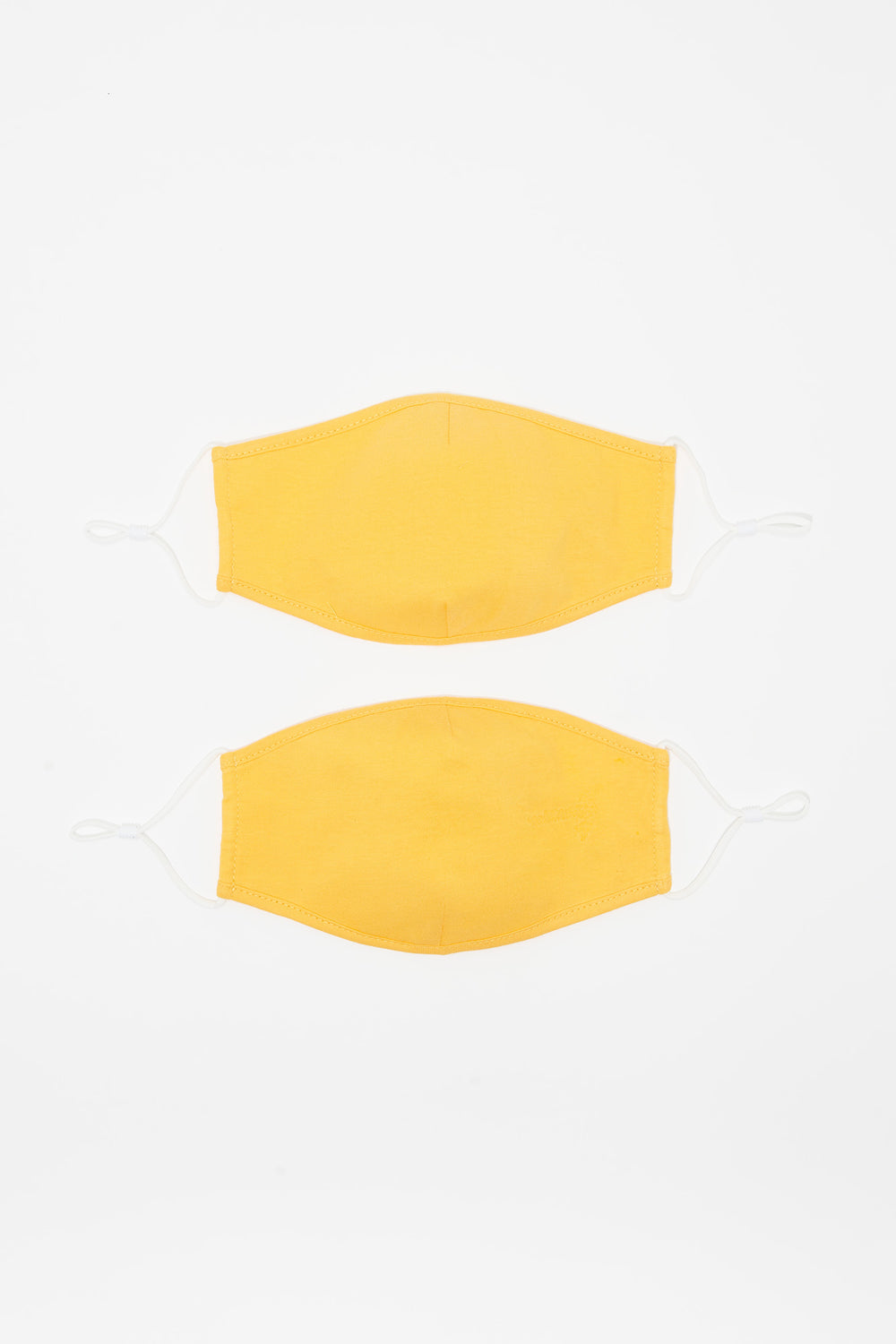 Washable & Reusable Double Layer Protective Yellow Face Masks (2 Pack) Mustard
