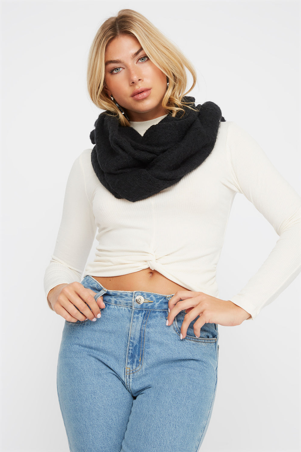 Soft Brushed Infinity Scarf Black