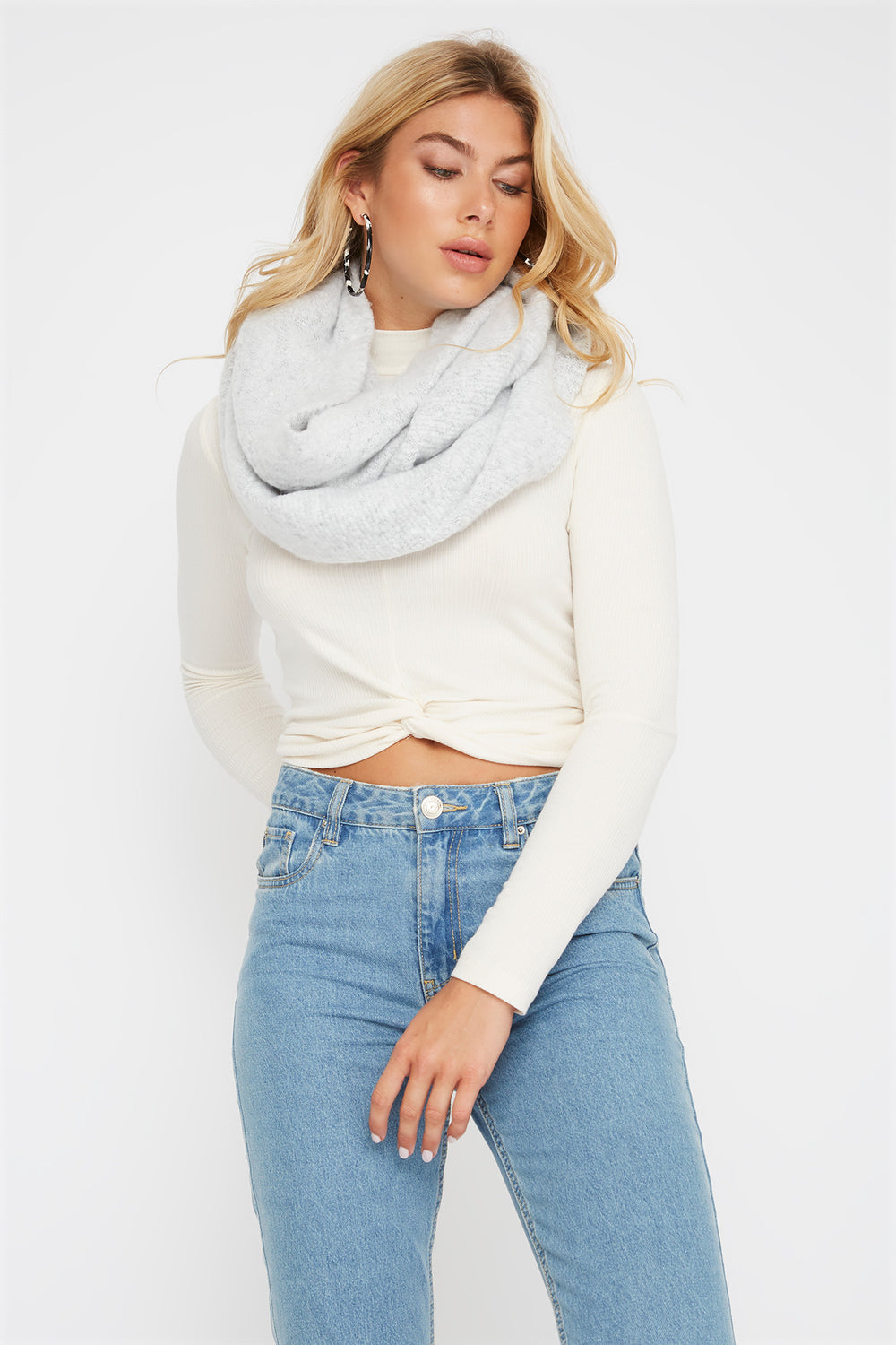 Soft Brushed Infinity Scarf Light Grey