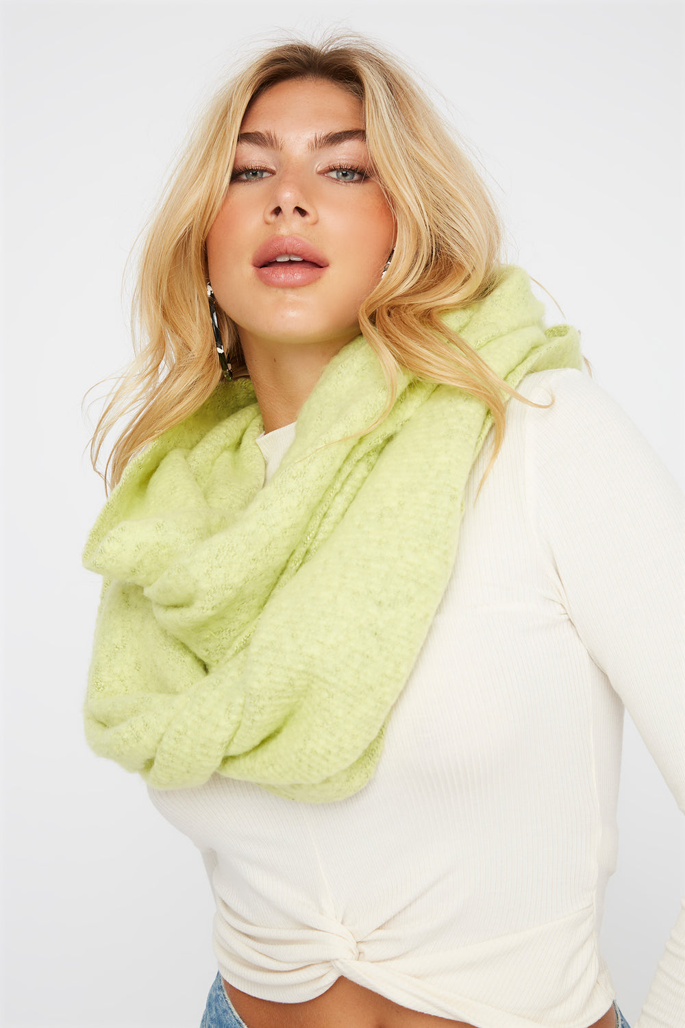 Soft Brushed Infinity Scarf Neon Yellow