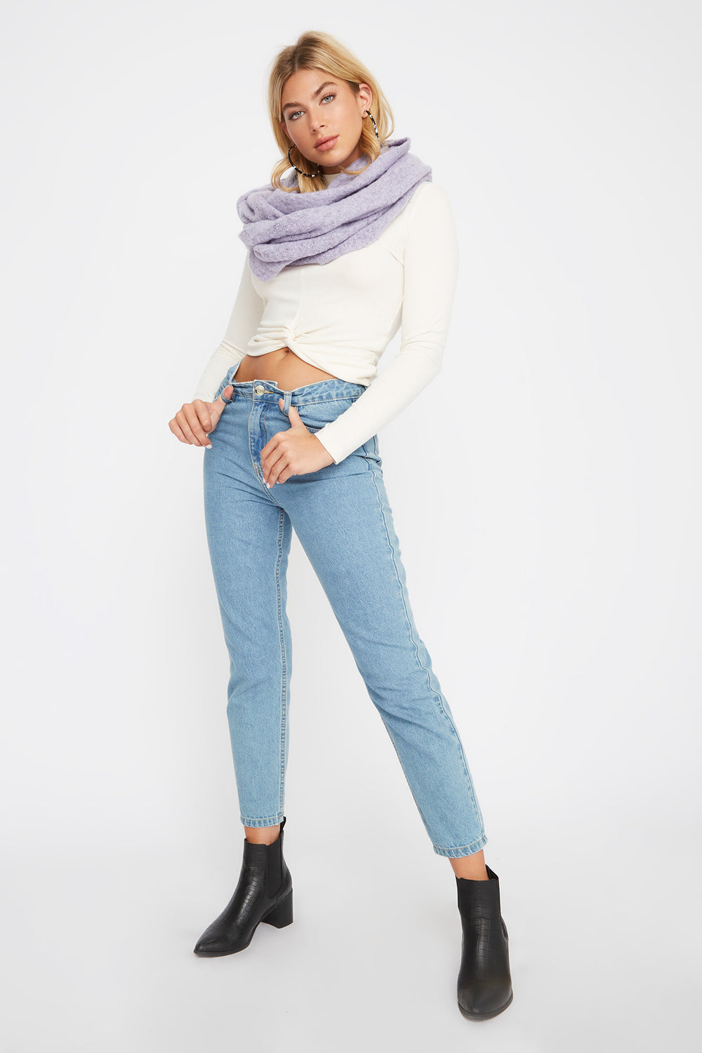 Soft Brushed Infinity Scarf Lilac