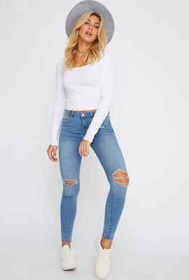 Rio Medium Wash Mid-Rise Distressed Push-Up Skinny Jean