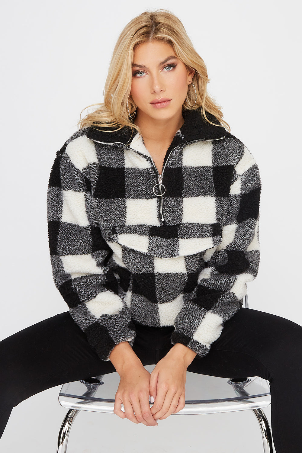Sherpa Half-Zip Plaid Pullover Jacket Black with White