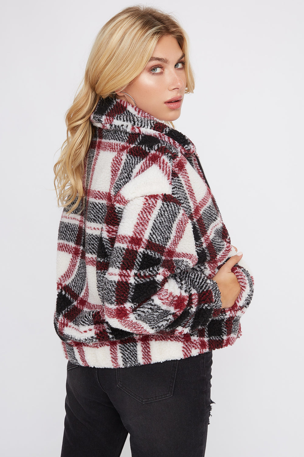 Plaid Sherpa Jacket Wine
