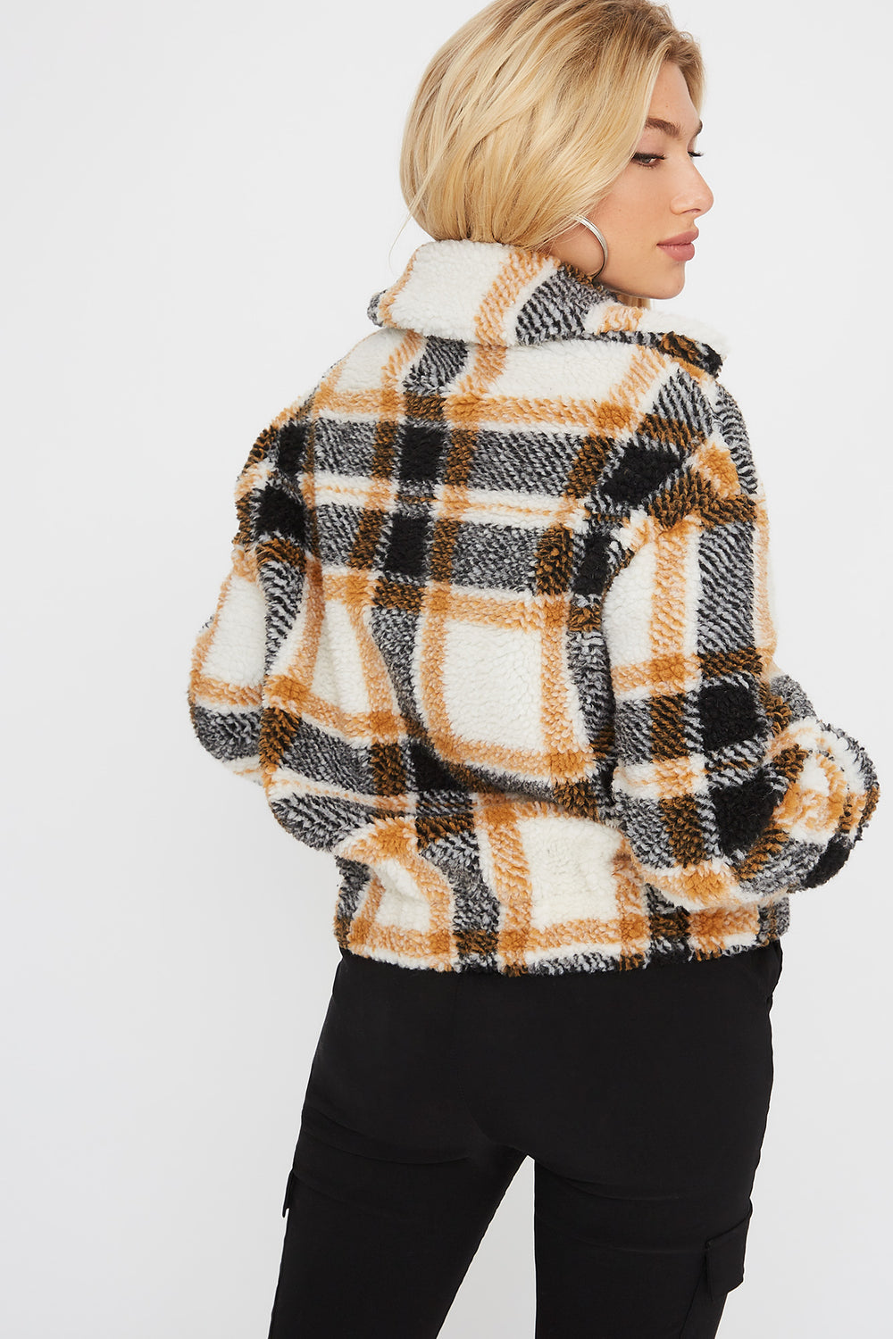 Blouson à carreaux en Sherpa Moutarde