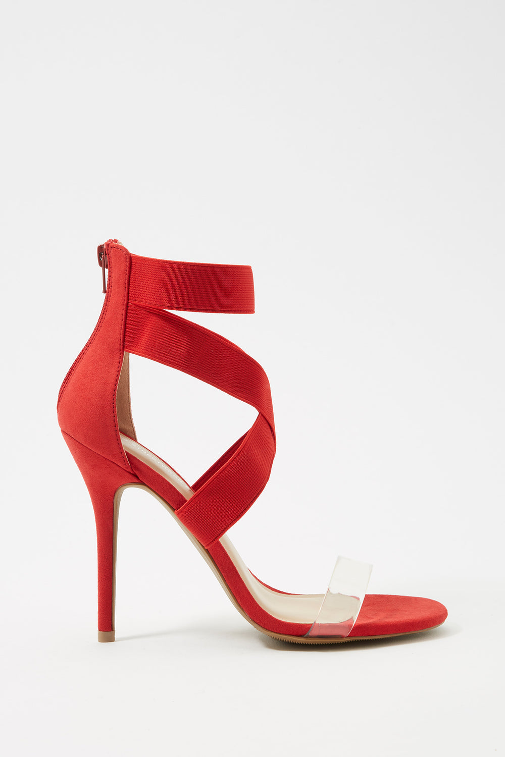 Clear Band Cross Strap Stiletto Sandal Red