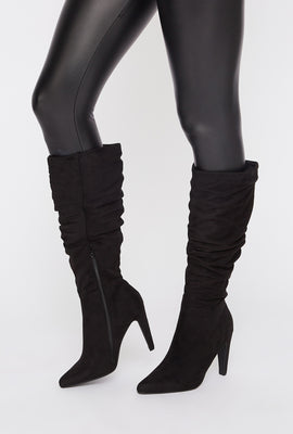 Ruched Mid Calf Heel Boot
