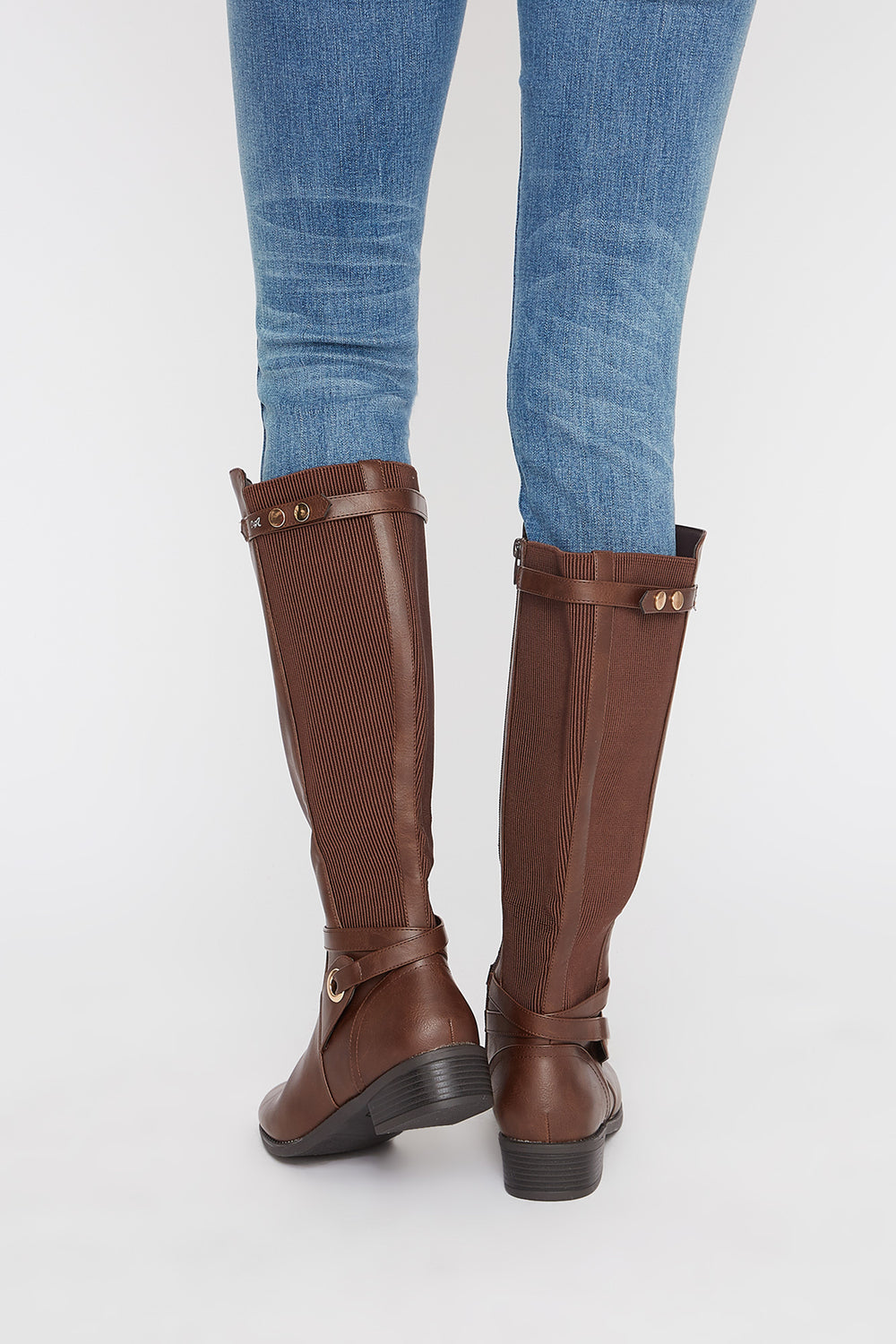 Gore Faux-Leather Knee High Boot Brown