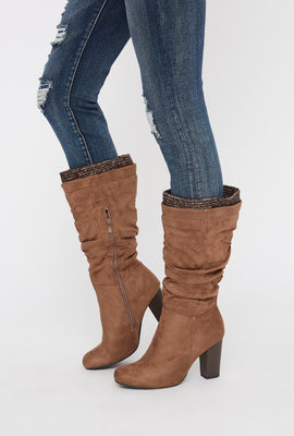 Ruched Knit Mid Calf High Heel Boot