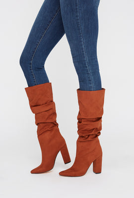 Pointed Ruched Heel Knee High Boot