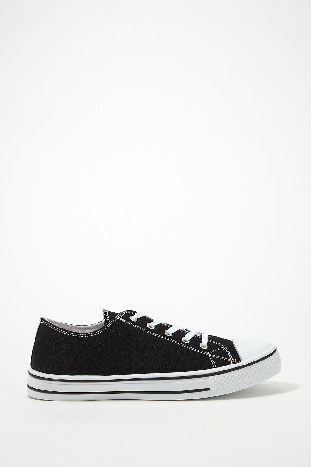 Printed Canvas Lace-Up Sneaker Black