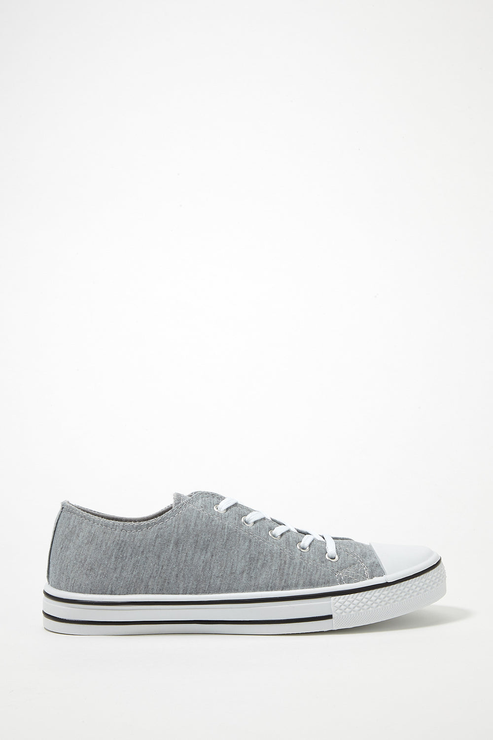Printed Canvas Lace-Up Sneaker Heather Grey