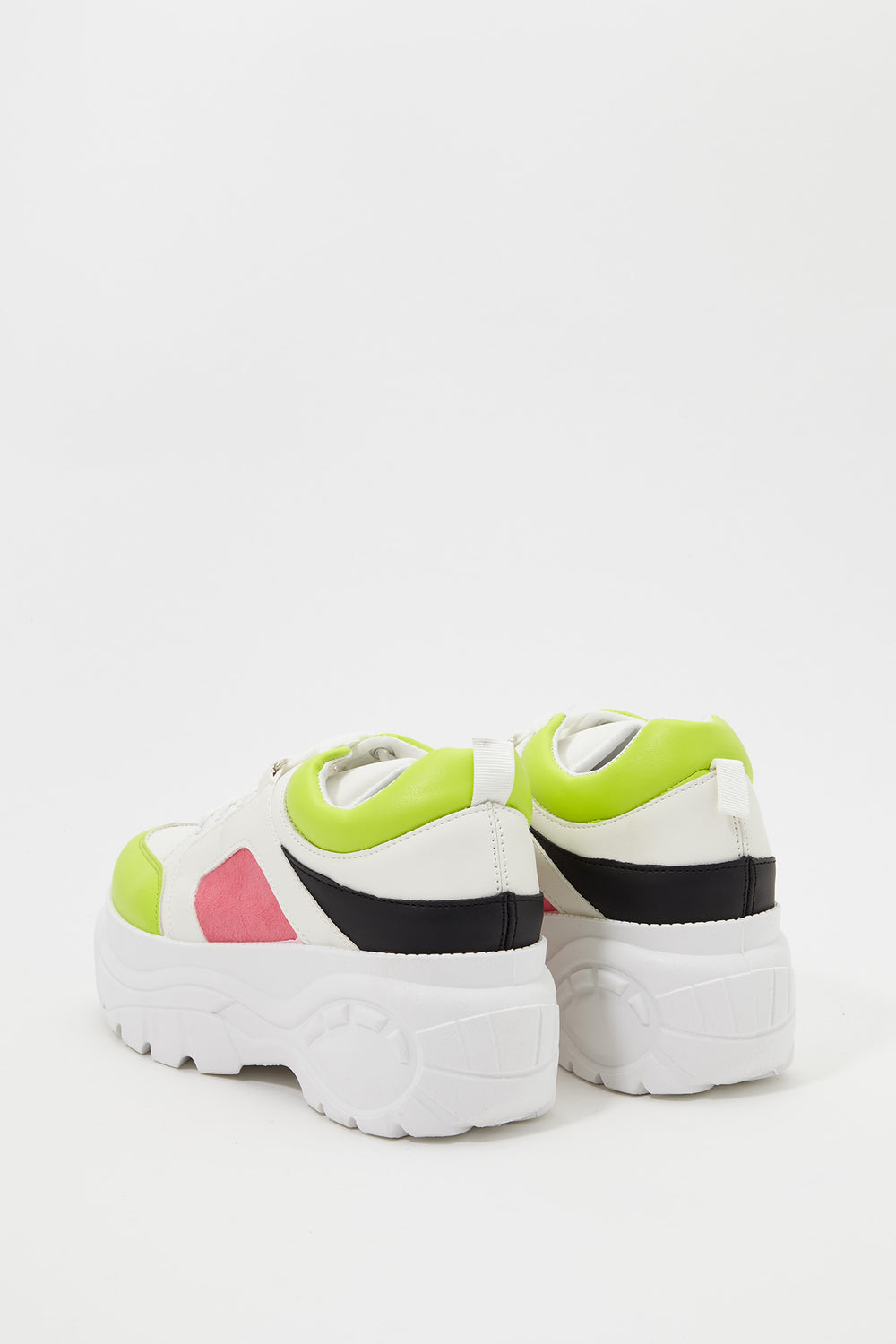 Platform Colour Block Sneaker Neon Green