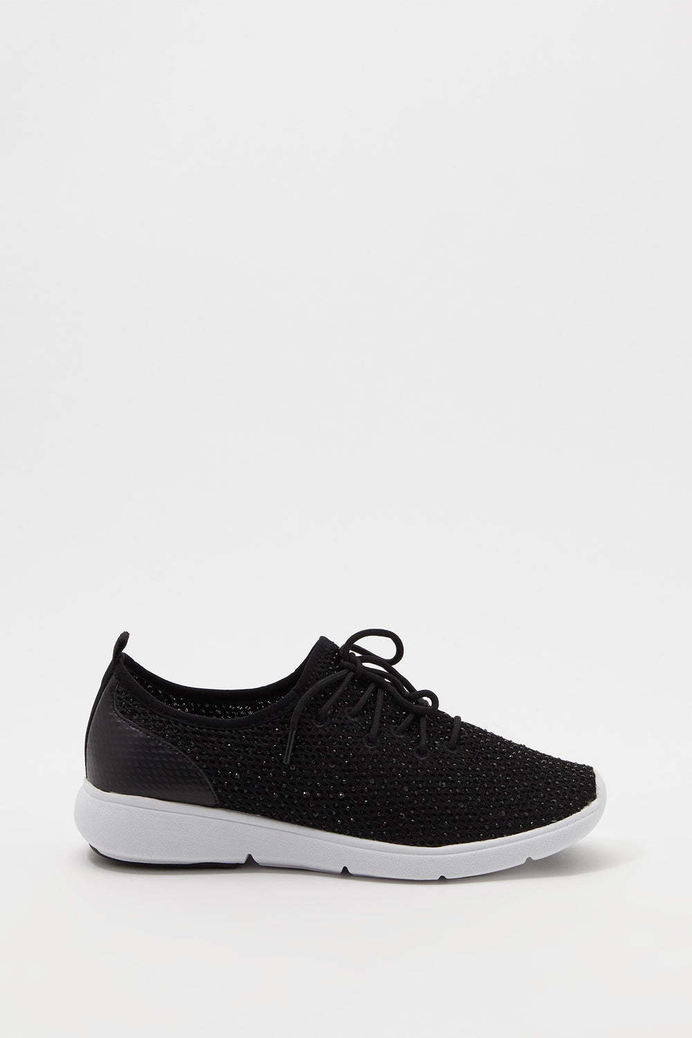 Sequin Lace-Up Sneaker Black