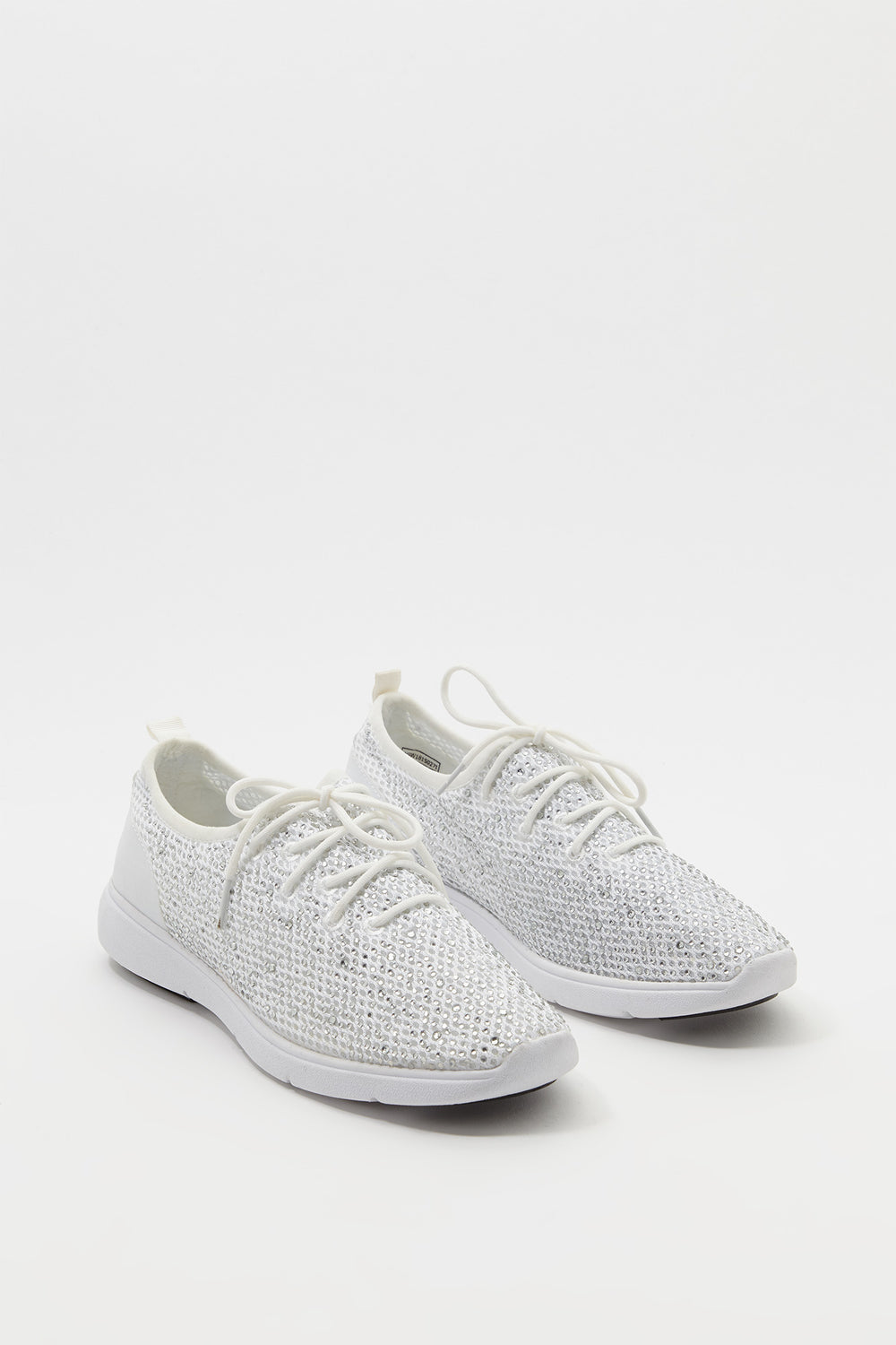 Sequin Lace-Up Sneaker White