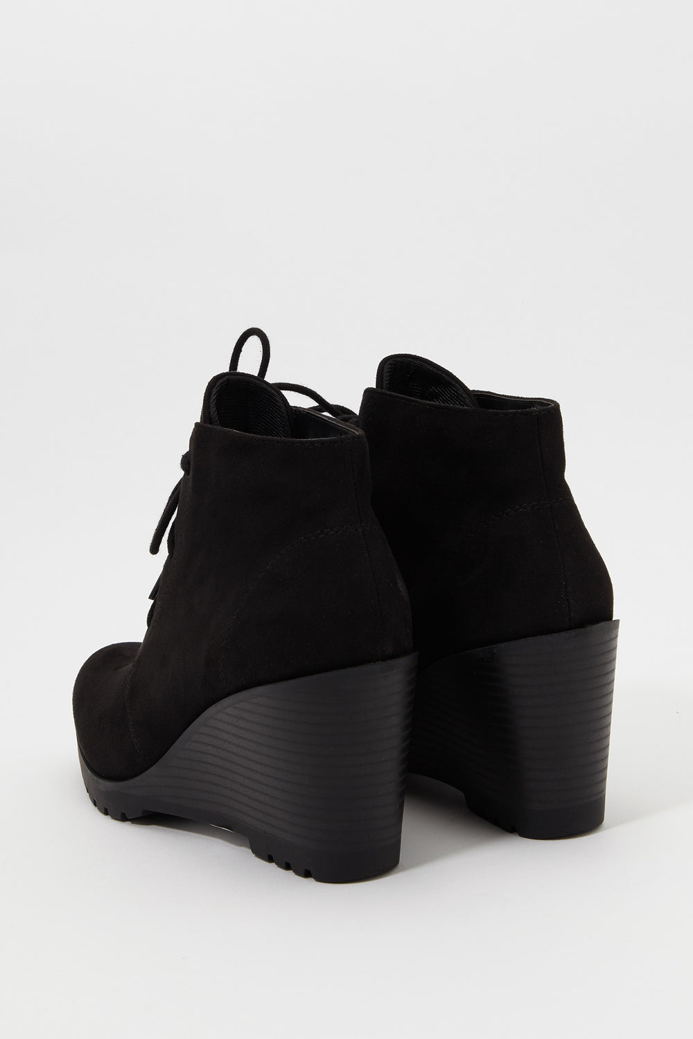Lace-Up Wedge Heel Bootie Black