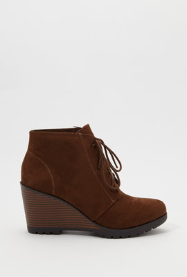 Lace-Up Wedge Heel Bootie