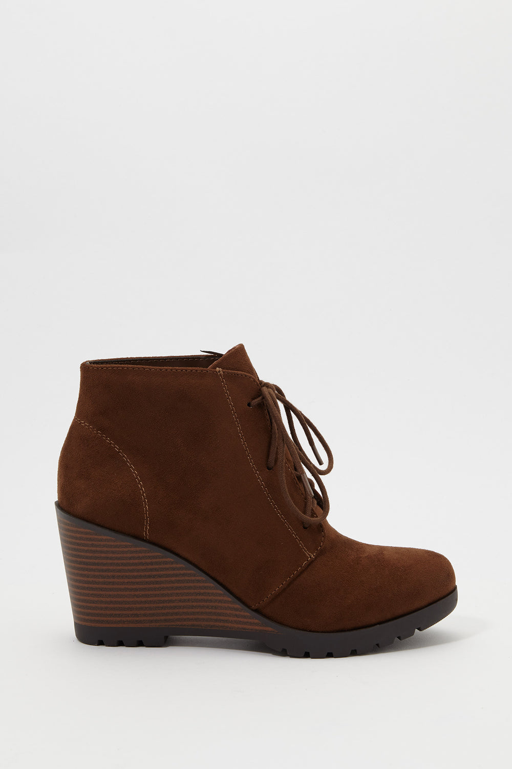 Lace-Up Wedge Heel Bootie Camel