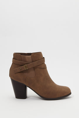 Almond Cross Strap Heel Bootie