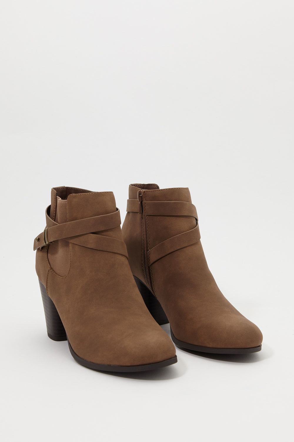 Almond Cross Strap Heel Bootie Taupe