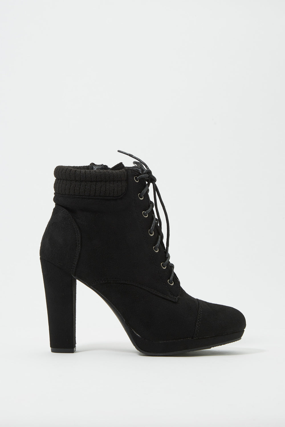 Knit Lace-Up Heel Bootie Black
