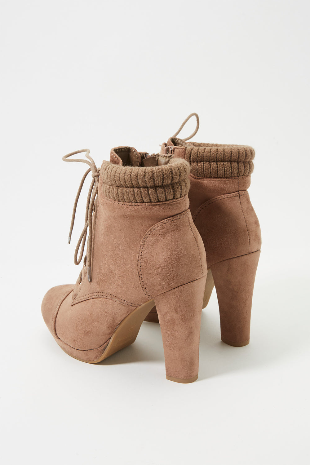 Knit Lace-Up Heel Bootie Taupe
