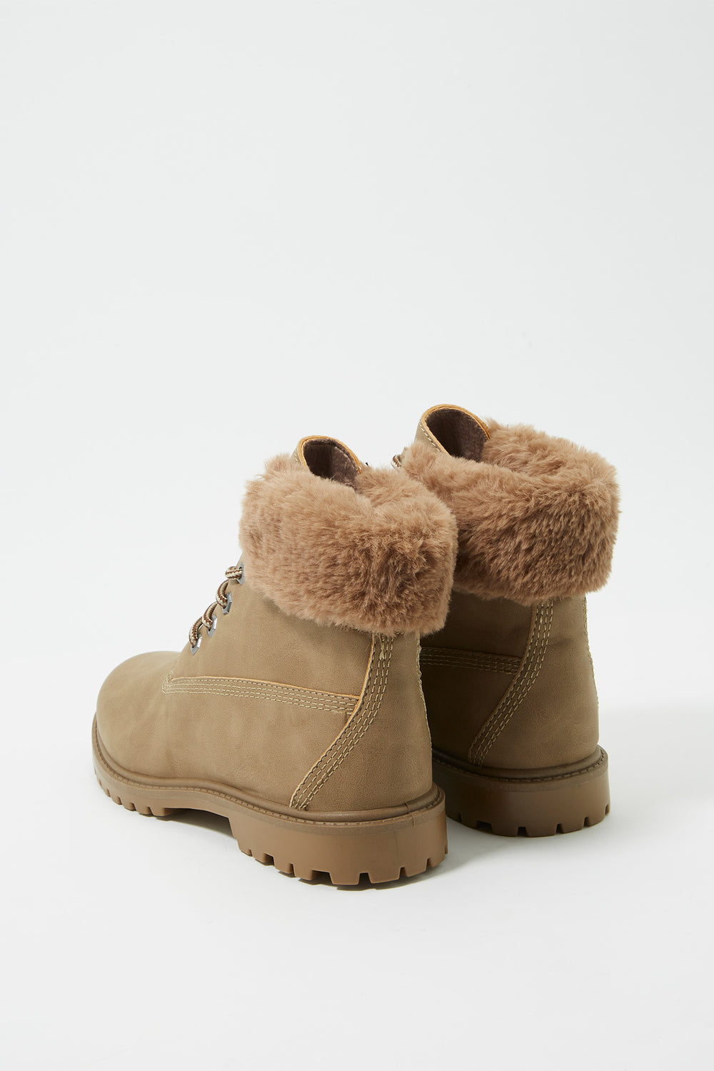 Faux-Fur Trim Hiker Boot Taupe