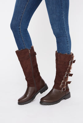 Buckle Faux-Fur Mid Calf Boot