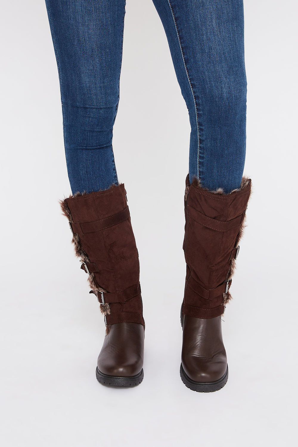 Buckle Faux-Fur Mid Calf Boot Brown