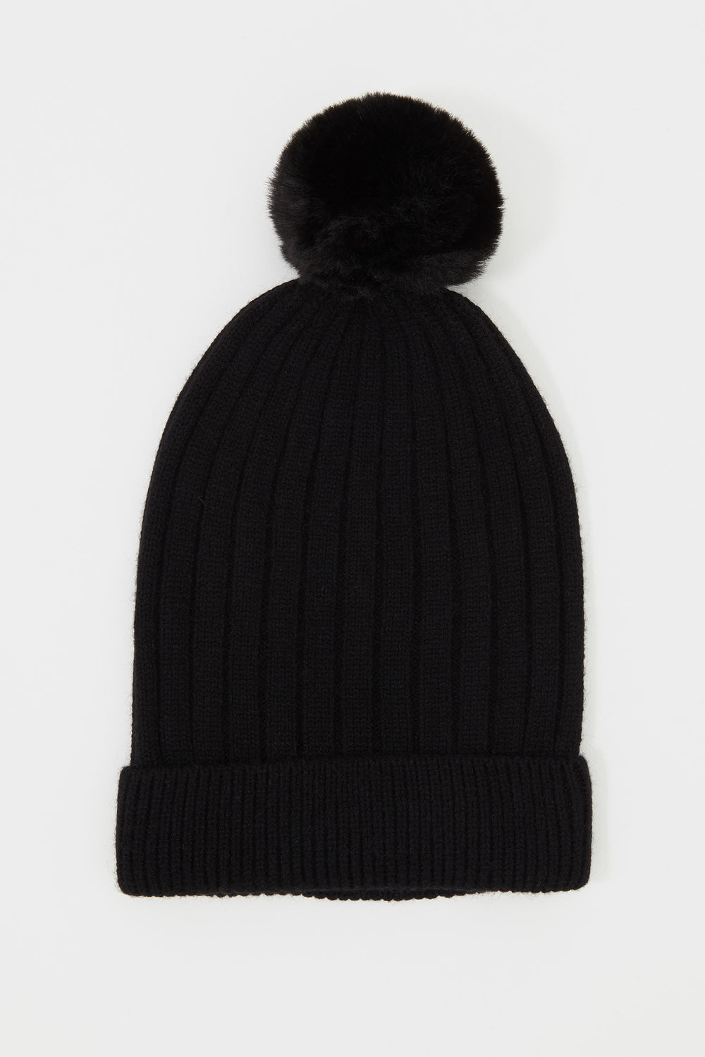 Ribbed Pom Pom Beanie Black