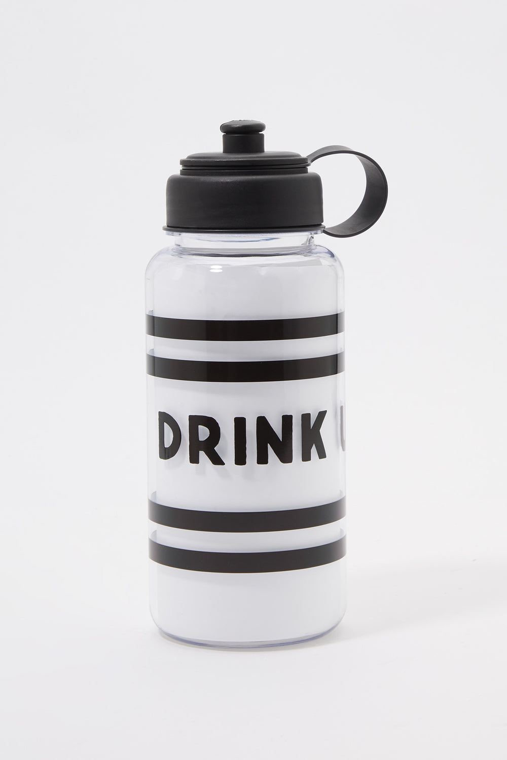Graphic Plastic Water Bottle Black