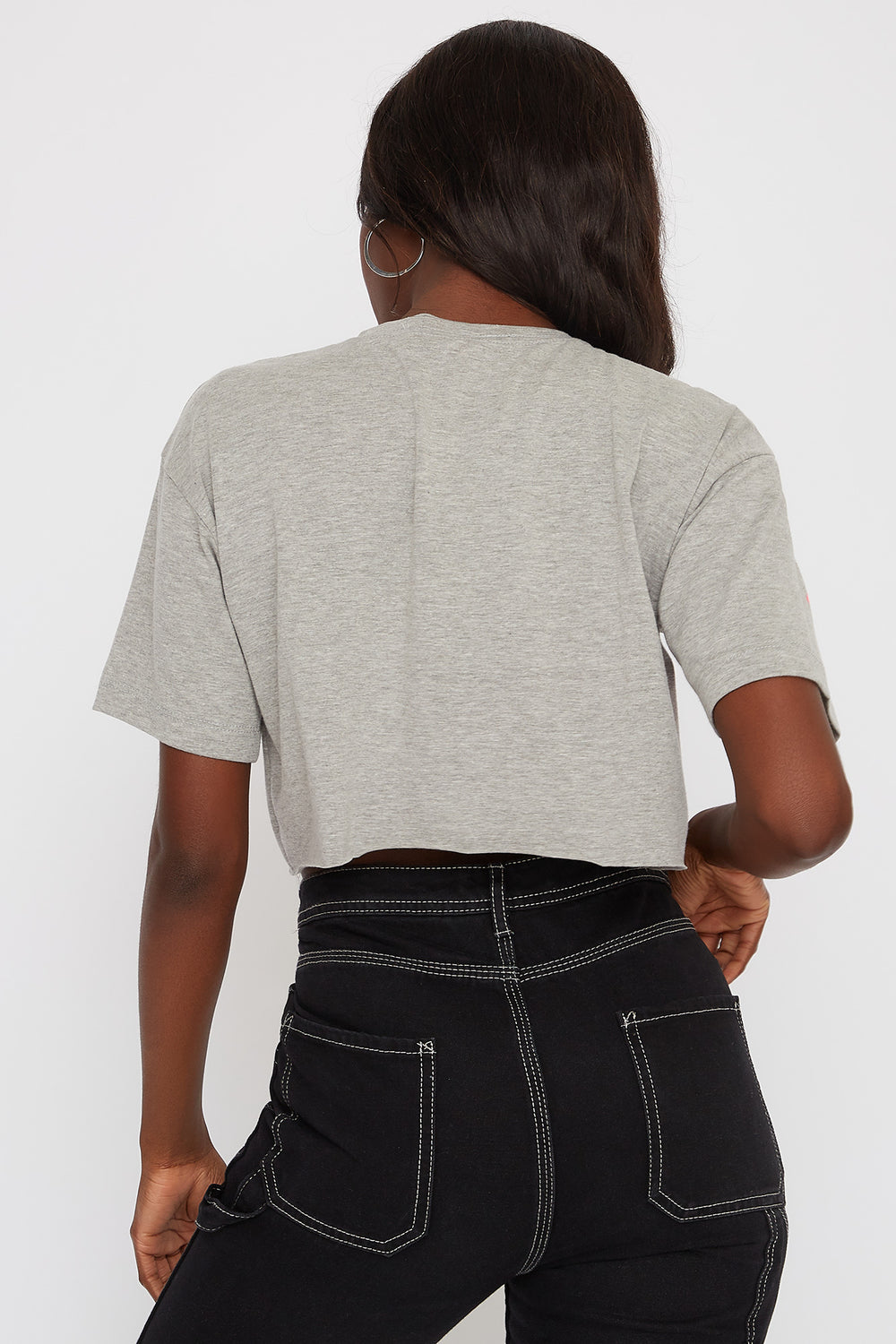 Graphic Cropped T-Shirt Heather Grey