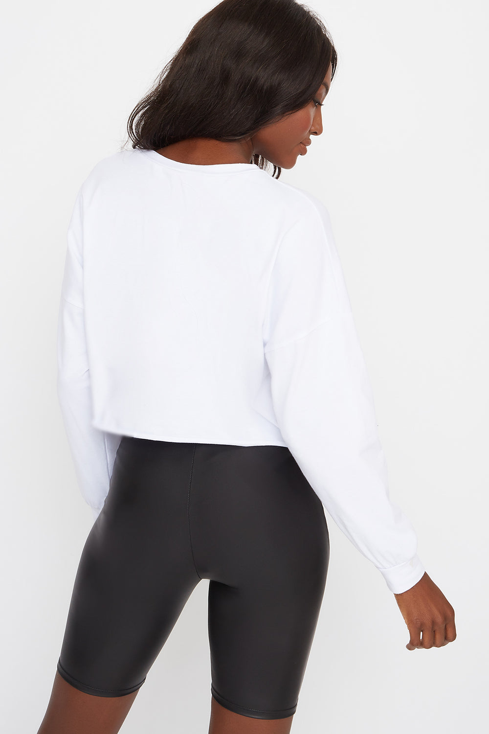 Graphic Cropped Long Sleeve White