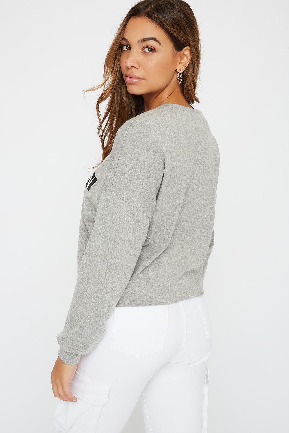 Oversized Graphic Long Sleeve Heather Grey