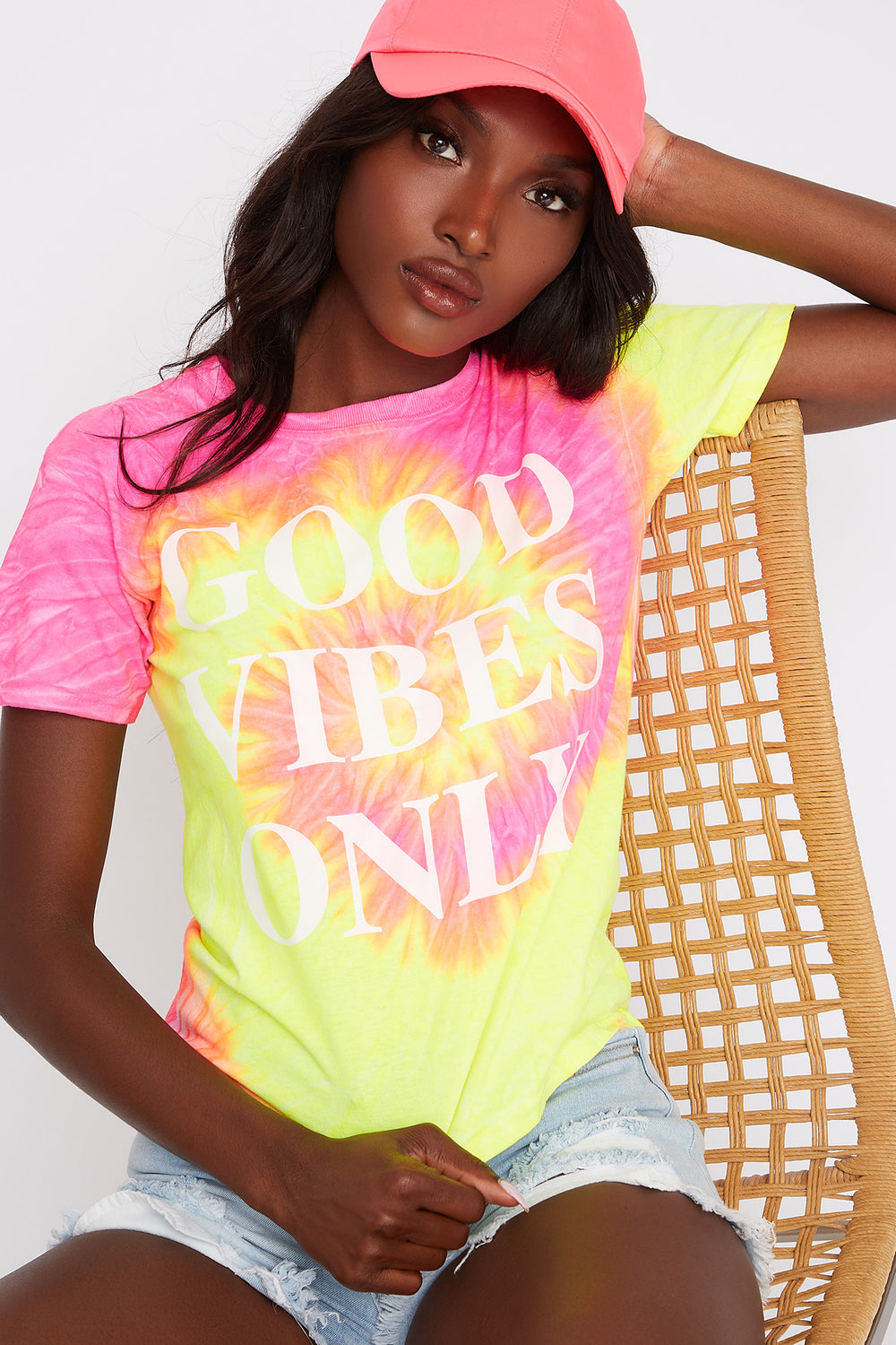 Neon Good Vibes Tie Dye T-Shirt Coral