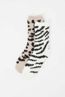 Animal Printed Fuzzy Crew Socks (2 Pairs)