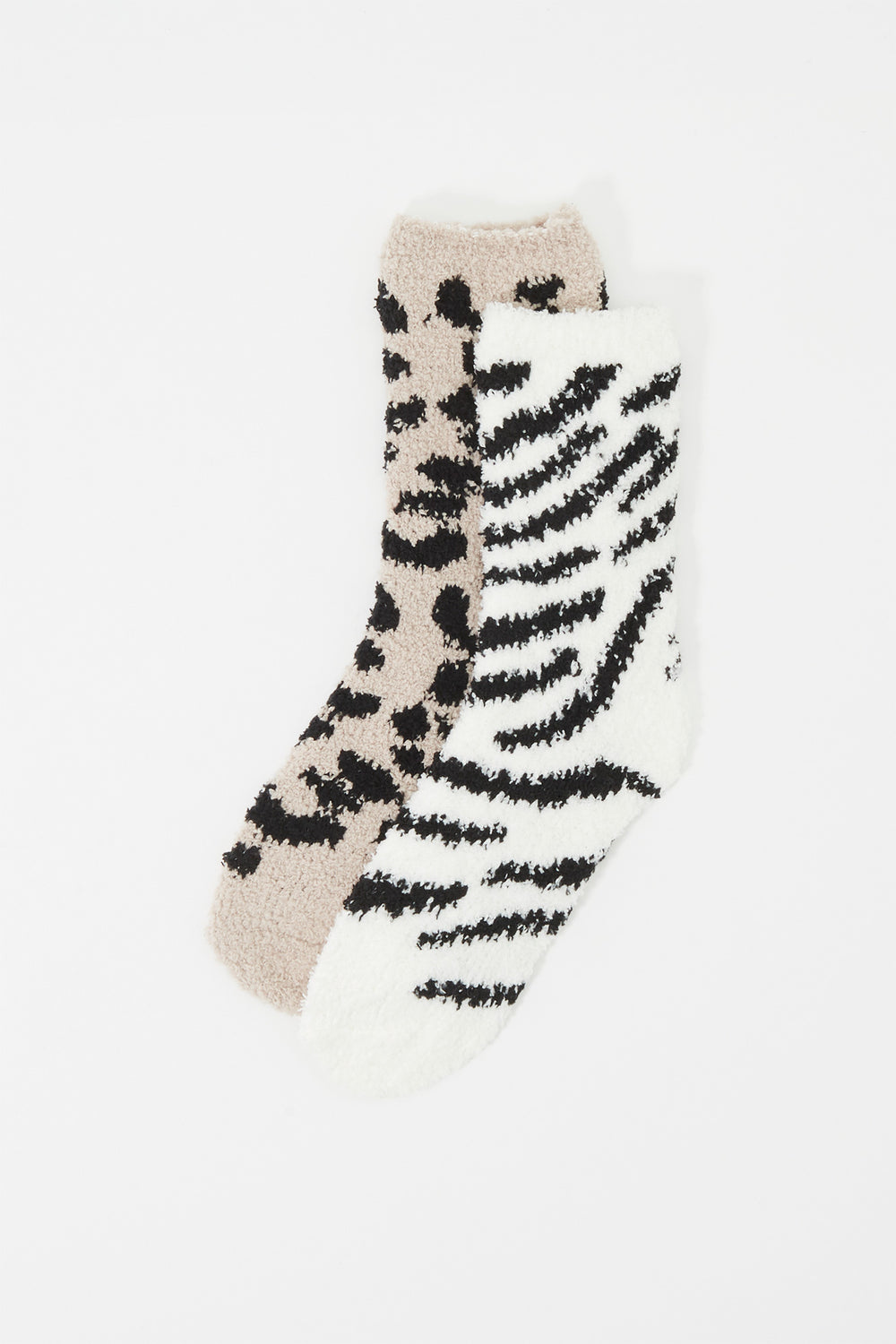 Animal Printed Fuzzy Crew Socks (2 Pairs) Leopard