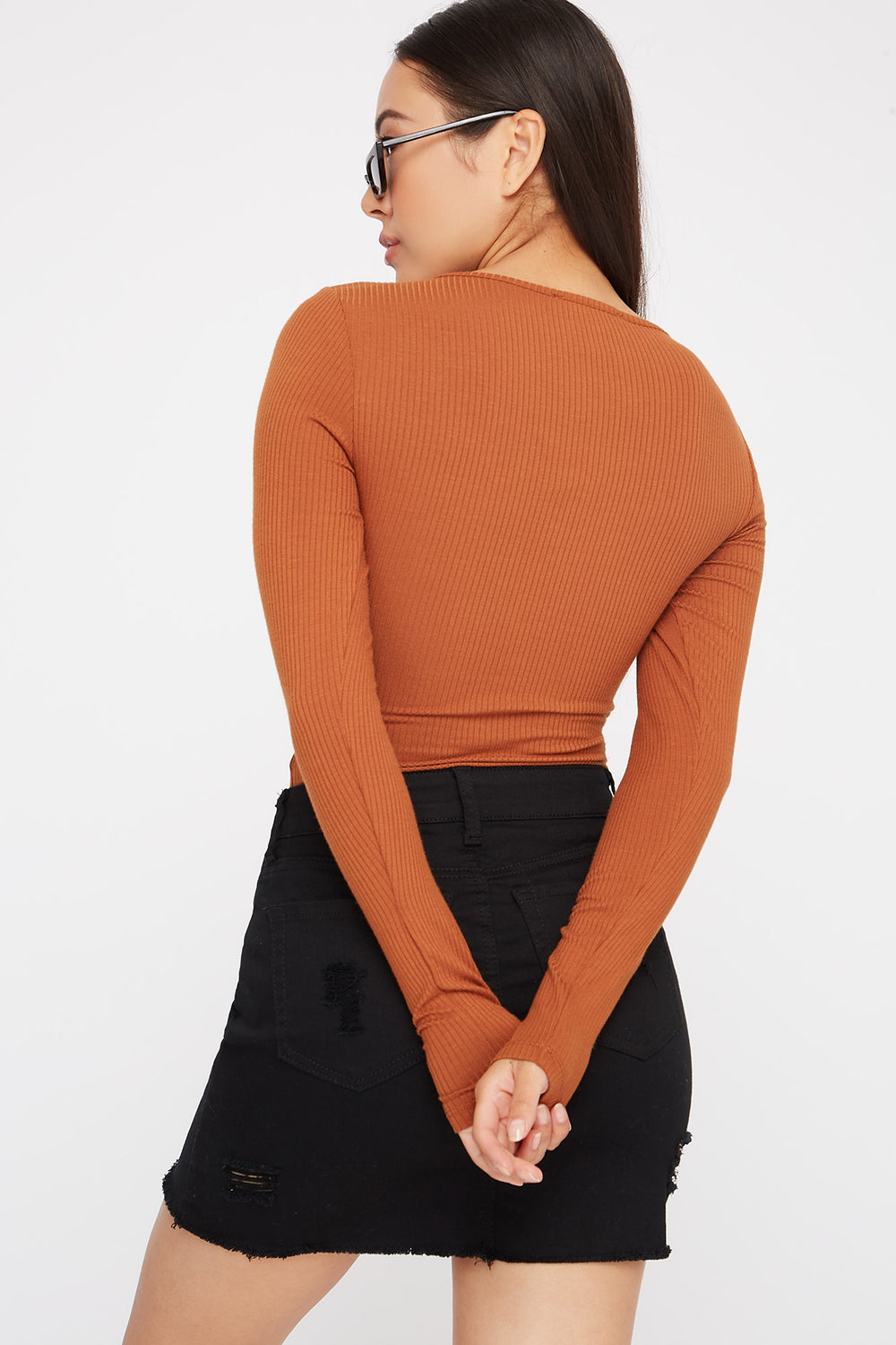 Utility Ribbed Long Sleeve Bodysuit Tan
