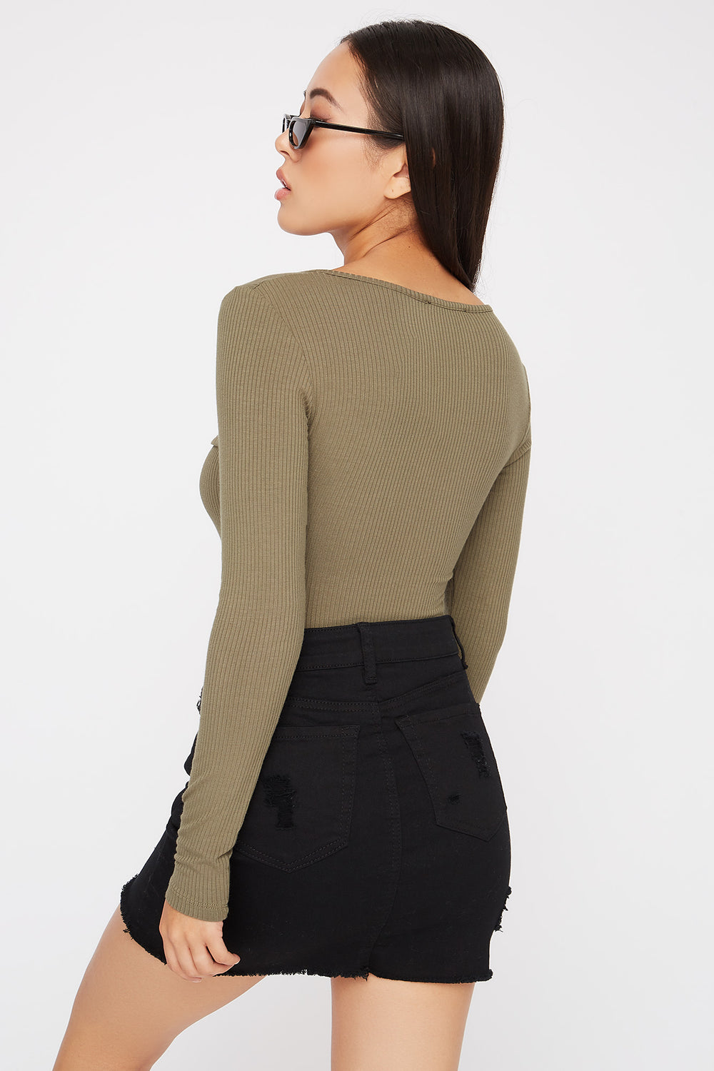 Utility Ribbed Long Sleeve Bodysuit Dark Green
