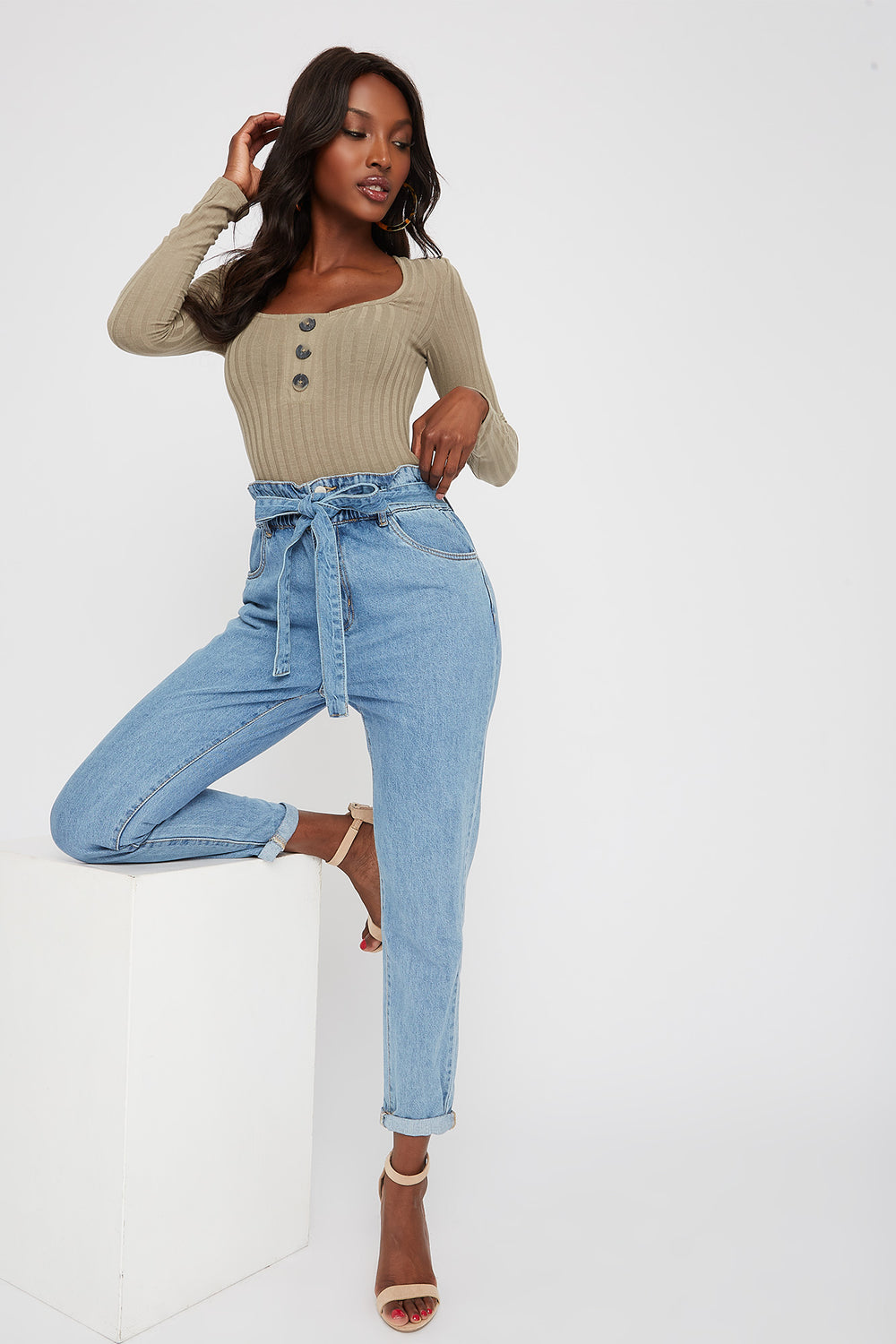 Square Neck Button Long Sleeve Bodysuit Jade