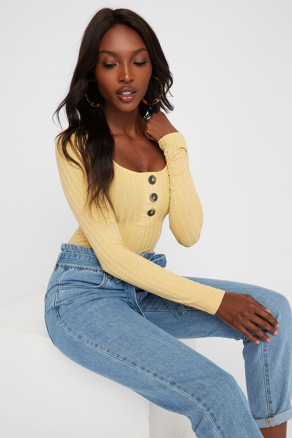 Square Neck Button Long Sleeve Bodysuit Mustard