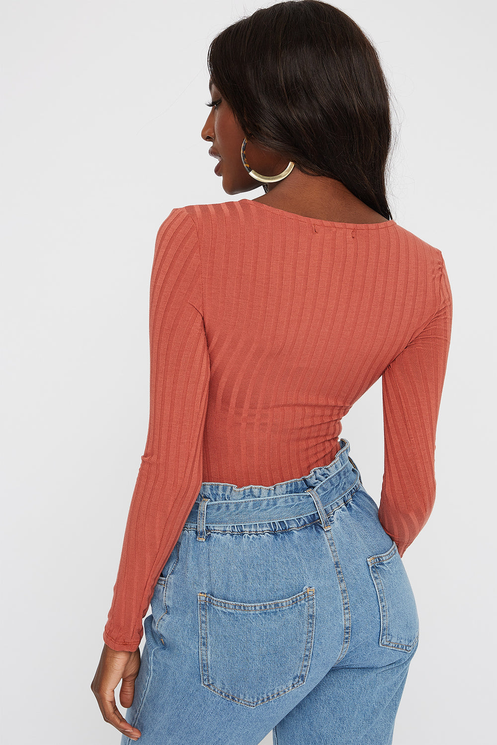 Square Neck Button Long Sleeve Bodysuit Rust