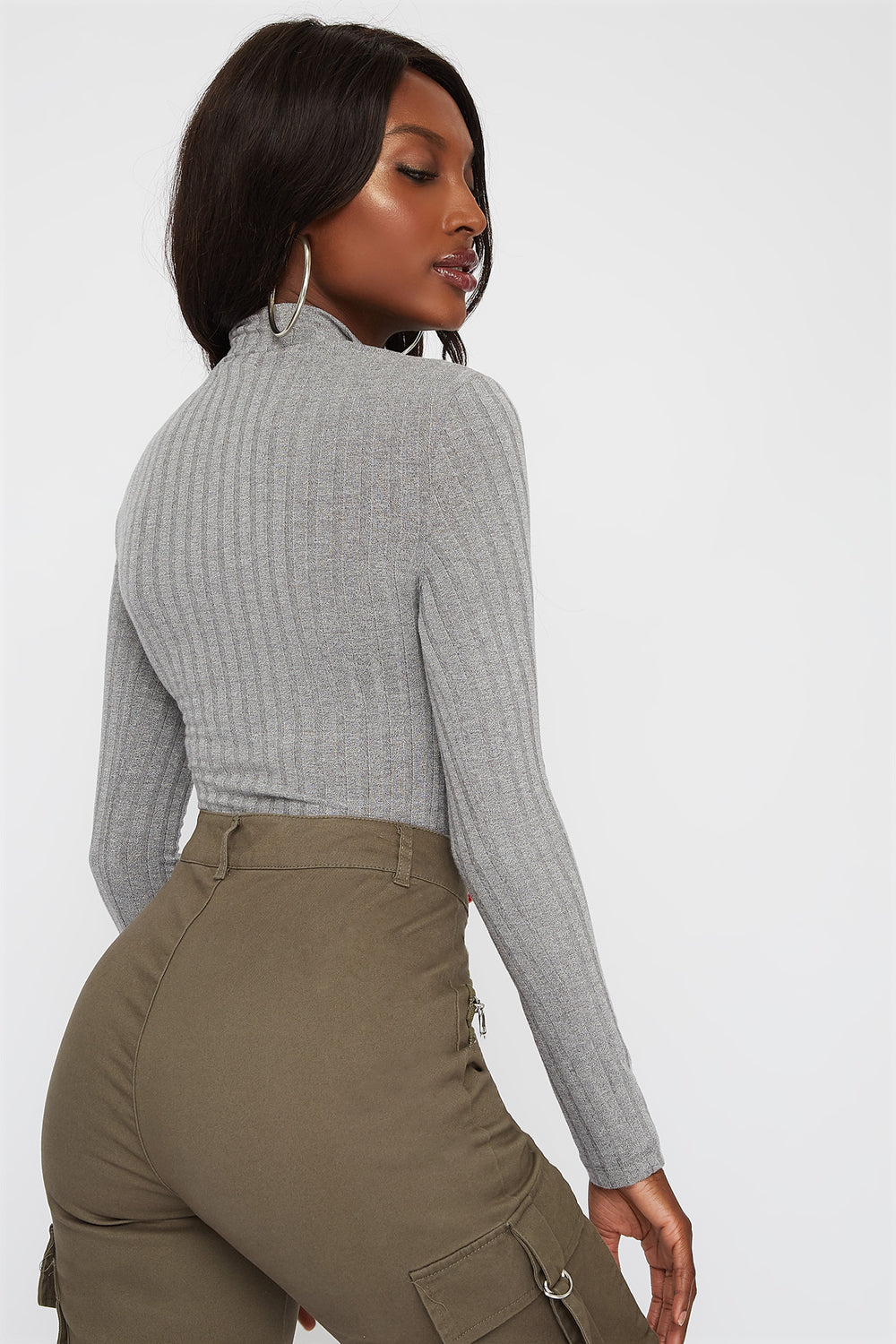 Ribbed Zip Mock Neck Long Sleeve Bodysuit Heather Grey